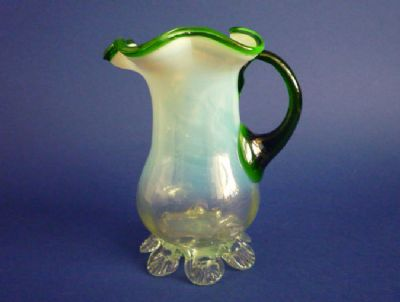 Fine Stourbridge Green Opalescent Glass Jug c1890